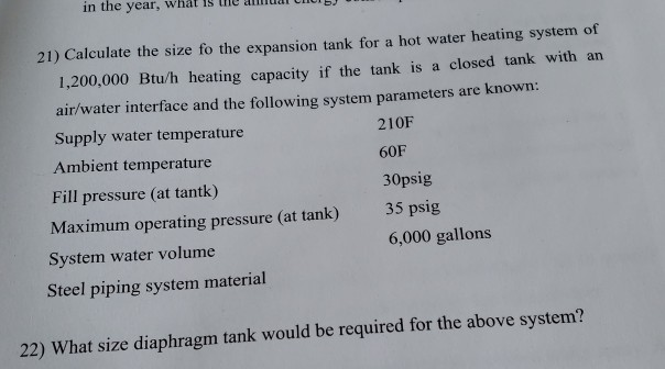 in the year, what is he anliuar 21) Calculate the size fo the expansion tank for a hot water heating system of 1,200,000 Btu/