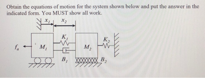 Obtain the equations of motion for the system shown below and put the answer in the indicated form. You MUST show all work. K,