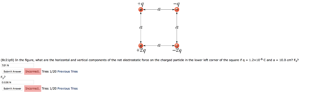 (8c21p9) In the figure, what are the horizontal and vertical components of the net electrostatic force on the charged particle in the lower left corner of the square if 701 N q1.2x10 C and a 10.0 cm? Fx? Submit Answer Incorrect. Tries 1/20 Previous Tries Fy? 0.536 N Submit Answer Incorrect. Tries 1/20 Previous Tries