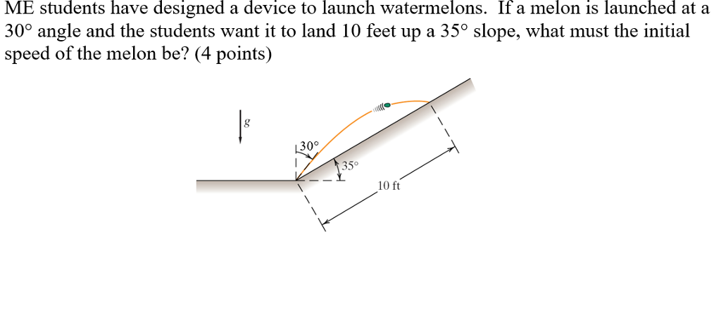 ME students have designed a device to launch watermelons. If a melon is launched at a 300 angle and the students want it to land 10 feet up a 35° slope, what must the initial speed of the melon be? (4 points) 30° 35° 10 ft