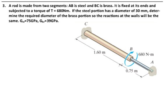 A rod is made from two segments: AB is steel and BC is brass. It is fixed at its ends and subjected to a torque of T 680Nm. I