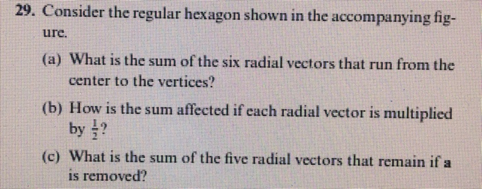 29. Consider the regular hexagon shown in the accompanying fig (a) What is the sum of the six radial vectors that run from the (b) How is the sum affected if each radial vector is multiplied (c) What is the sum of the five radial vectors that remain if a ure center to the vertices? by is removed?
