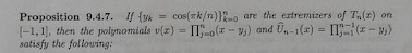 = cos(rk/n))2-o are the ertremtzers of T,,(z) on )-пп-0(z-yj) and Un-1(z)-пі.tz-w) If {yk Proposition [- 9.4.7. 1,1, then the polynomials v(z satisfy the foltowing: