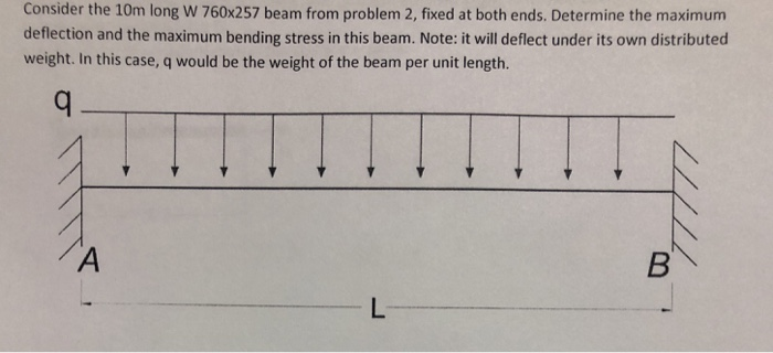 Consider the 10m long W 760x257 beam from problem 2, fixed at both ends. Determine the maximum deflection and the maximum bending stress in this beam. Note: it will deflect under its own distributed weight. In this case, q would be the weight of the beam per unit length