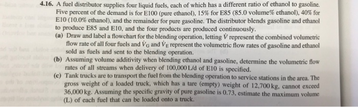 4.16. A fuel distributor supplies four liquid fuels, each of which has a different ratio of ethanol to gasoline. Five percent of the demand is for E100 (pure ethanol), 15% for E85 (85.0 volume% ethanol), 40% for E10 (10.0% ethanol), and the remainder for pure gasoline. The distributor blends gasoline and ethanol to produce E85 and E10, and the four products are produced continuously (a) Draw and label a flowchart for the blending operation, letting V represent the combined volumetric flow rate of all four fuels and Vo and Ve represent the volumetric flow rates of gasoline and ethanol sold as fuels and sent to the blending operation. (b) Assuming volume additivity when blending ethanol and gasoline, determine the volumetric flow rates of all streams when delivery of 100,000 L/d of E10 is specified. (c) Tank trucks are to transport the fuel from the blending operation to service stations in the area. The gross weight of a loaded truck, which has a tare (empty) weight of 12,700kg, cannot exceed 36,000kg. Assuming the specific gravity of pure gasoline is 0.73, estimate the maximum volume (L) of each fuel that can be loaded onto a truck.