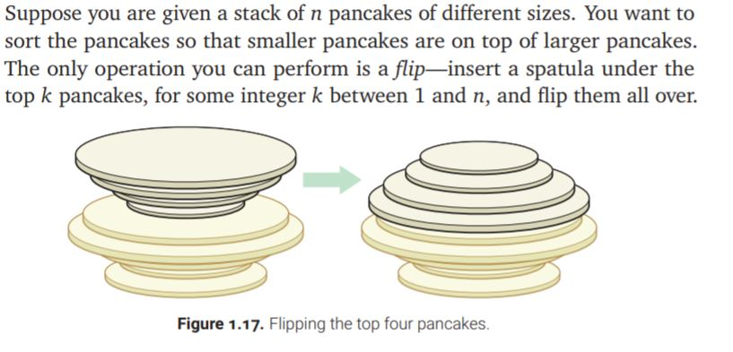 Suppose you are given a stack of n pancakes of different sizes. You want to sort the pancakes so that smaller pancakes are on top of larger pancakes The only operation you can perform is a flip-insert a spatula under the top k pancakes, for some integer k between 1 and n, and flip them all over. Figure 1.17. Flipping the top four pancakes.