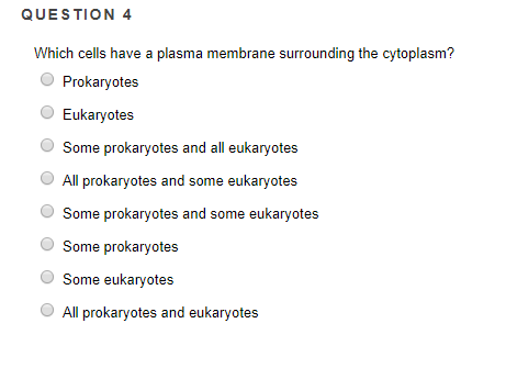 QUESTION 4 Which cells have a plasma membrane surrounding the cytoplasm? O Prokaryotes Eukaryotes Some prokaryotes and all eukaryoters All prokaryotes and some eukaryotes O Some prokaryotes and some eukaryotes Some prokaryotes Some eukaryotes All prokaryotes and eukaryotes
