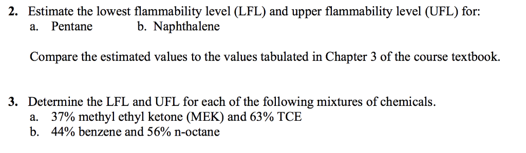 2. Estimate the lowest flammability level (LFL) and upper flammability level (UFL) for: a. Pentane b. Naphthalene Compare the