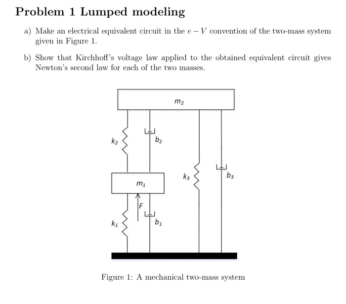 Problem 1 Lumped modeling a) Make an electrical equivalent circuit in the e - V convention of the two-mass system given n Figure I. b) Show that Kirchhoffs voltage law applied to the obtained equivalent circuit gives Newtons second law for each of the two masses. m2 k2 b2 k3 b3 m1 k1 b1 Figure 1: A mechanical two-mass system