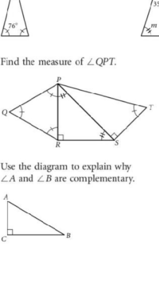 35 76° Find the measure of LQPT Use the diagram to explain why ㄥ and B are complementary.