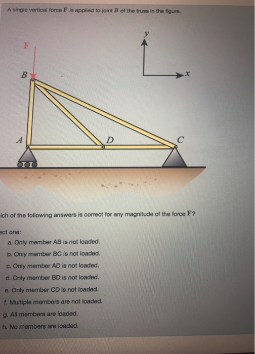 A single vertical force F is applied to joint B of the truss in the figure. or ich of the following answers is correct for any magnitude of the force F? ct one: a. Only member AB is not loaded. b. Only member BC is not loaded. c. Only member AD is not loaded. d. Only member BD is not loaded. e. Only member CD is not loaded. f. Multiple members are not loaded. g. All members are loaded. h. No members are loaded.