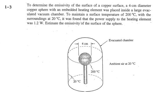 To determine the emissivity of the surface of.a copper surface, a 4-cm diameter copper sphere with an embedded heating element was placed inside a large evac- ulated vacuum chamber. To maintain a surface temperature of 200 °C, with the surroundings at 20 °C, it was found that the power supply to the heating element was 1.2 W. Estimate the emissivity of the surface of the sphere. 1-3 Evacuated chamber Ambient air at 20 °C 200 °C 20°C