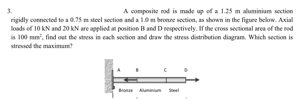 3. A composite rod is made up of a 1.25 m aluminium sectiorn rigidly connected to a 0.75 m steel section and a 1.0 m bronze section, as shown in the figure below. Axial loads of 10 kN and 20 kN are applied at position B and D respectively. If the cross sectional area of the rod stressed the maximum? Bronze Aluminium Steel
