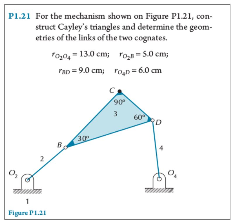 21 For the mechanism shown on Figure etries of the links of the two cognates. ro 5.0 cm; P1.21, con- struct Cayleys triangles and determine the geom P1. o204 13.0 cm; 2 BD-9.0 cm; ro4D-6.0 cm 90° 3 60° 3 4 2 Figure P1.21