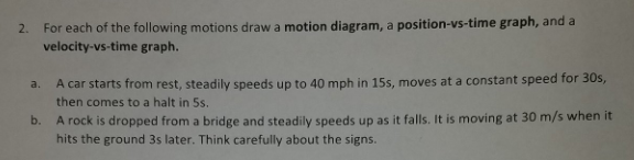 2. For each of the following motions draw a motion diagram, a position-vs-time graph, and a velocity-vs-time graph. a. A car starts from rest, steadily speeds up to 40 mph in 15s, moves at a constant speed for 30s, b. then comes to a halt in 5s A rock is dropped from a bridge and steadily speeds up as it falls. It is moving at 30 m/s when it hits the ground 3s later. Think carefully about the signs.