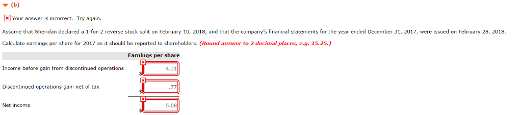 ▼ (b) Your answer is incorrect. Try again. Assume that Sheridan declared a 1 for 2 reverse stock split on February 10 2018, a