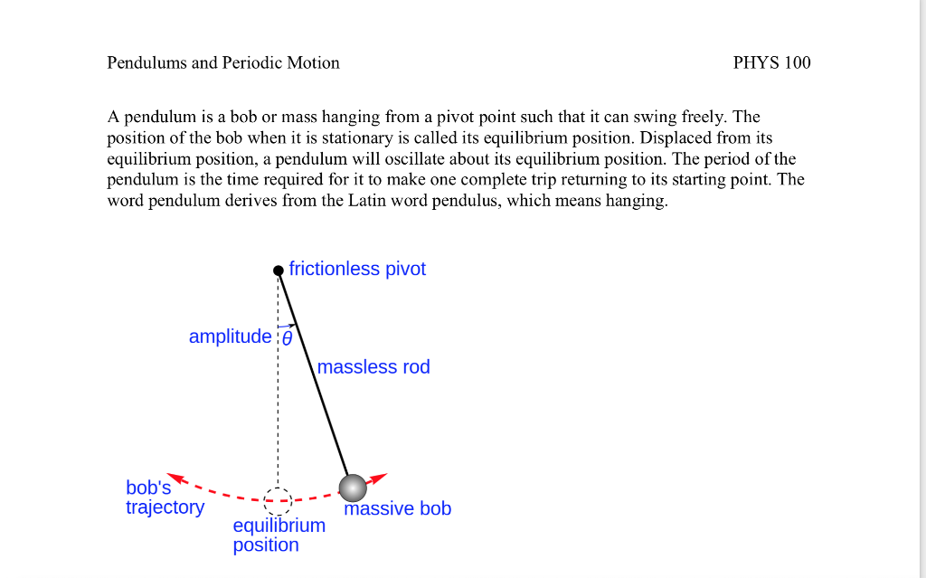 Pendulums and Periodic Motion PHYS 100 A pendulum is a bob or mass hanging from a pivot point such that it can swing freely.