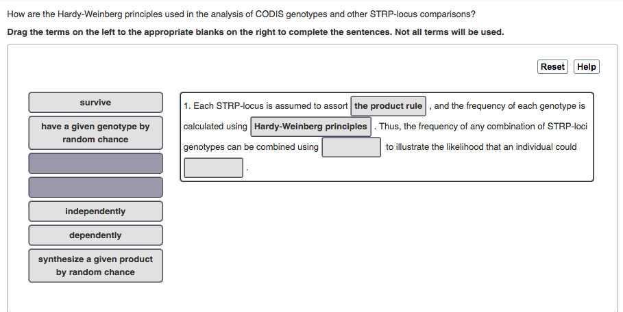 How are the Hardy-Weinberg principles used in the analysis of CODIS genotypes and other STRP-locus comparisons? Drag the terms on the left to the appropriate blanks on the right to complete the sentences. Not all terms will be used. Reset Help survive 1. Each STRP-locus is assumed to assort the product rule ,and the frequency of each genotype is calculated using Hardy-Weinberg principles. Thus, the frequency of any combination of STRP-loci genotypes can be combined using have a given genotype by random chance to illustrate the likelihood that an individual could independently dependently synthesize a given product by random chance