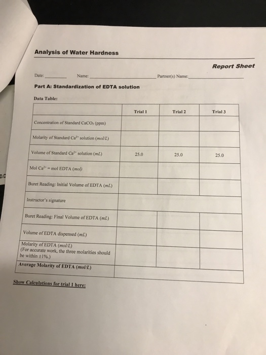 Analysis of Water Hardness Report Sheet Date: Part A: Standardization of EDTA solution Data Table: Name: Partnen(s) Name: Tri