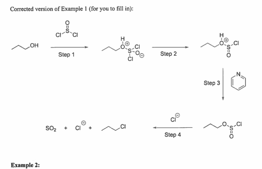 Corrected version of Example 1 (for you to fill in): он Step 1 Step 2 Cl Step 3 Ci Cl Step 4 Example 2: