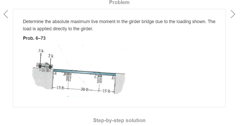 Problem Determine the absolute maximum live moment in the girder bridge due to the loading shown. The load is applied directl