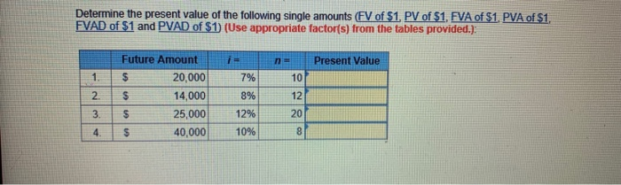 Determine the present value of the following single amounts (FV of $1, PV of S1. FVA of S1. PVA ofS1. FVAD of $1 and PVAD of