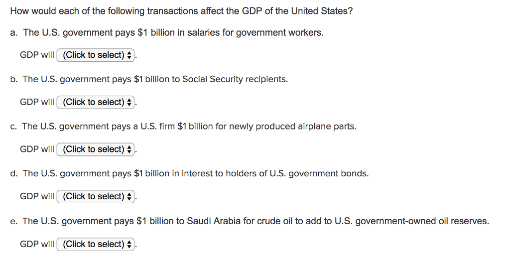 How would each of the following transactions affect the GDP of the United States? a. The U.S. government pays $1 billion in salaries for government workers. GDP will(Click to select) b. The U.S. government pays $1 billion to Social Security recipients. GDP will (Click to select) c. The U.S. government pays a U.S. firm $1 billion for newly produced airplane parts. GDP will (Click to select) 4 ). d. The U.S. government pays $1 billion in interest to holders of U.S. government bonds. GDP will (Click to select) e. The U.S. government pays $1 billion to Saudi Arabia for crude oil to add to U.S. government-owned oil reserves. GDP will (Click to select)