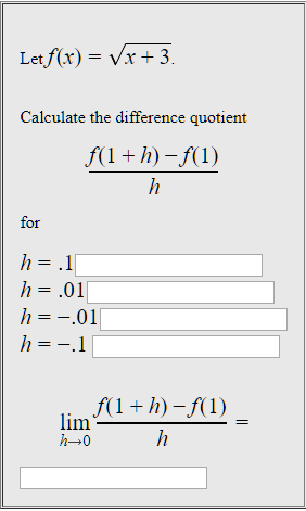 Letf(x)- Vx+3 Calculate the difference quotient ror h =-.01 h→0