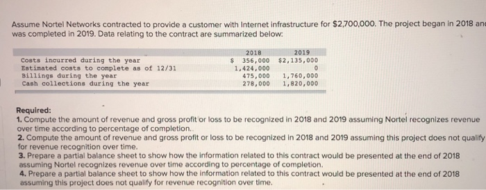 Assume Nortel Networks contracted to provide a customer with Internet infrastructure for $2,700,000. The project began in 2018 and was completed in 2019. Data relating to the contract are summarized below 2018 2019 Costs incurred during the year Estinated costs to complete as of 12/31 Billings during the year Cash collections during the year $356,000 $2,135,000 1.424,000 475,000 1,760,000 278,000 1,820,000 Required: 1. Compute the amount of revenue and gross profit or loss to be recognized in 2018 and 2019 assuming Nortel recognizes revenue over time according to percentage of completion. 2. Compute the amount of revenue and gross profit or loss to be recognized in 2018 and 2019 assuming this project does not qualify for revenue recognition over time. 3. Prepare a partial balance sheet to show how the information related to this contract would be presented at the end of 2018 assuming Nortel recognizes revenue over time according to percentage of completion. 4. Prepare a partial balance sheet to show how the information related to this contract would be presented at the end of 2018 assuming this project does not qualify for revenue recognition over time.