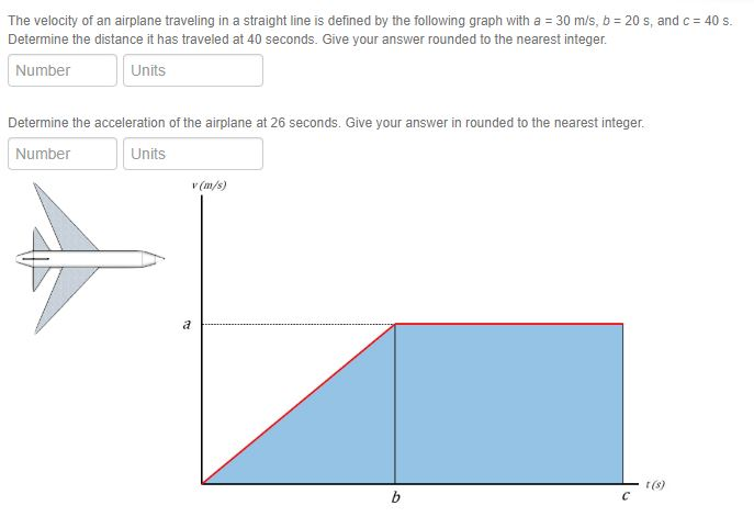 The velocity of an airplane traveling in a straight line is defined by the following graph with a 30 m/s, b 20 s, and c 40 s Determine the distance it has traveled at 40 seconds. Give your answer rounded to the nearest integer. Number Units Determine the acceleration of the airplane at 26 seconds. Give your answer in rounded to the nearest integer. Number Units (m/s) t(s)