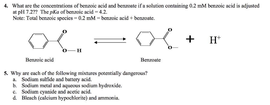 What are the concentrations of benzoic acid and benzoate if a solution containing 0.2 mM benzoic acid is adjusted at pH 7.2??