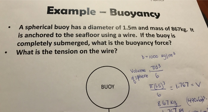 Example Buoyancy .A spherical buoy has a diameter of 1.5m and mass of 867kg. It is anchored to the seafloor using a wire. If the buoy is completely submerged, what is the buoyancy force? torce What is the tension on the wirezhe Volue TTd 3 d sphere BUOY