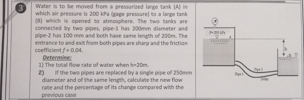 Water is to be moved from a pressurized large tank (A) in which air pressure is 200 kPa (gage pressure) to a large tank (B) which is opened to atmosphere. The two tanks are connected by two pipes, pipe-1 has 200mm diameter and pipe-2 has 100 mm and both have same length of 200m. The entrance to and exit from both pipes are sharp and the friction coefficient f 0.04 Determine: 1) The total flow rate of water when h-20m. 2) If the two pipes are replaced by a single pipe of 250mm Pipe 2 Pipe 1 diameter and of the same length, calculate the new flow rate and the percentage of its change compared with the 200m previous case