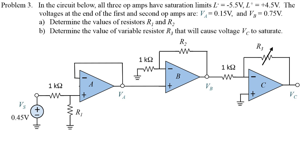 Problem 3. In the circuit below, all three op amps have saturation limits L voltages at the end of the first and second op amps are: V4-0.15V and VB 0.75V. a) Determine the values of resistors R, and R2 b) Determine the value of variable resistor R3 that will cause voltage c to saturate. 5.5V, L+ = +4.5V The R2 R3 1 k2 1 kS2 VB 0.45V