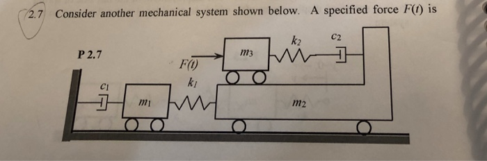 is 2.7 Consider another mechanical system shown below. A specified force 2.7 Consider another mechanical system shown below. A specified force F() is k2 C2 P 2.7 F(O ki c1 1m1 m2
