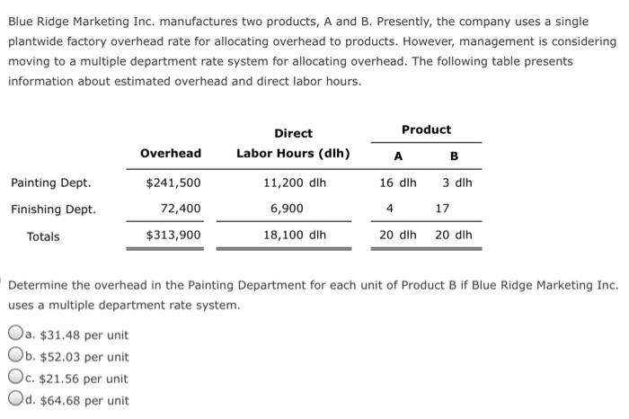 Blue Ridge Marketing Inc. manufactures two products, A and B. Presently, the company uses a single plantwide factory overhead rate for allocating overhead to products. However, management is considering moving to a multiple department rate system for allocating overhead. The following table presents information about estimated overhead and direct labor hours Product Direct Labor Hours (dlh) 11,200 dlh Overhead $241,500 72,400 $313,900 Painting Dept. 16 dlh 3 dlh 17 20 dlh Finishing Dept 6,900 4 Totals 18,100 dlh 20 dlh Determine the overhead in the Painting Department for each unit of Product B if Blue Ridge Marketing Inc. uses a multiple department rate system. Oa. $31.48 per unit Ob. $52.03 per unit Oc. $21.56 per unit Od. $64.68 per unit
