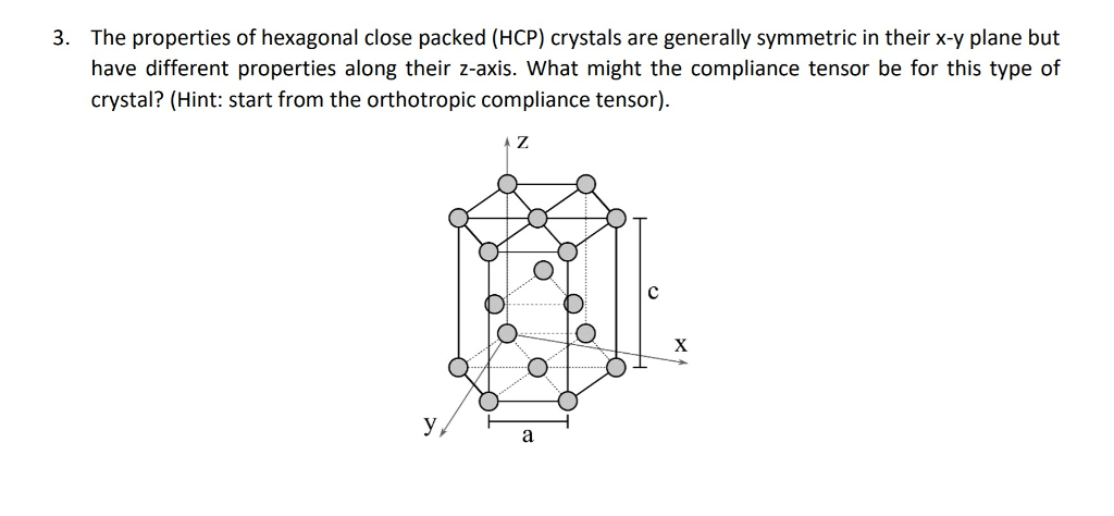 The properties of hexagonal close packed (HCP) crystals are generally symmetric in their x-y plane but have different properties along their z-axis. What might the compliance tensor be for this type of crystal? (Hint: start from the orthotropic compliance tensor) 3.