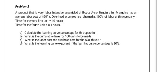 Problem 2 A product that is very labor intensive assembled at Boyds Aero Structure in Memphis has an average labor cost of $2