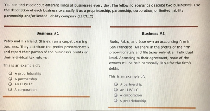 You see and read about different kinds of businesses every day. The following scenarios describe two businesses. Use the description of each business to classify it as a proprietorship, partnership, corporation, or limited liability partnership and/or limited liability company (LLP/LLC) Business #1 Business #2 Pablo and his friend, Shirley, run a carpet cleaning business. They distribute the profits proportionately and report their portion of the businesss profits on their individual tax returns. This is an example of: Rudo, Pablo, and Jose own an accounting firm in San Francisco. All share in the profits of the firm proportionately and file taxes only at an individual level. According to their agreement, none of the owners will be held personally liable for the firms debts O A proprietorship O A partnership O An LLP/LLC O A corporation This is an example of: O A partnership O An LLP/LLC O A corporation O A proprietorship