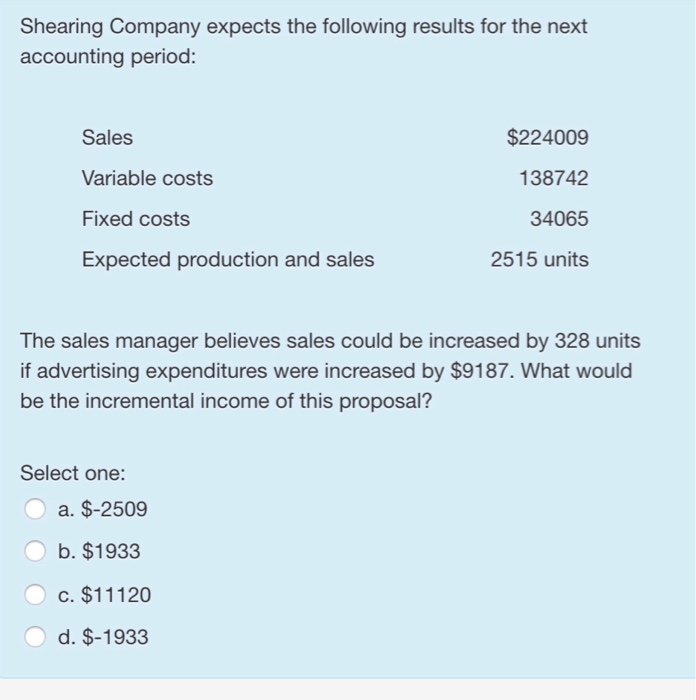 Shearing Company expects the following results for the next accounting period: Sales Variable costs Fixed costs Expected production and sales $224009 138742 34065 2515 units The sales manager believes sales could be increased by 328 units if advertising expenditures were increased by $9187. What would be the incremental income of this proposal? Select one: a. $-2509 b. $1933 c. $11120 d. $-1933