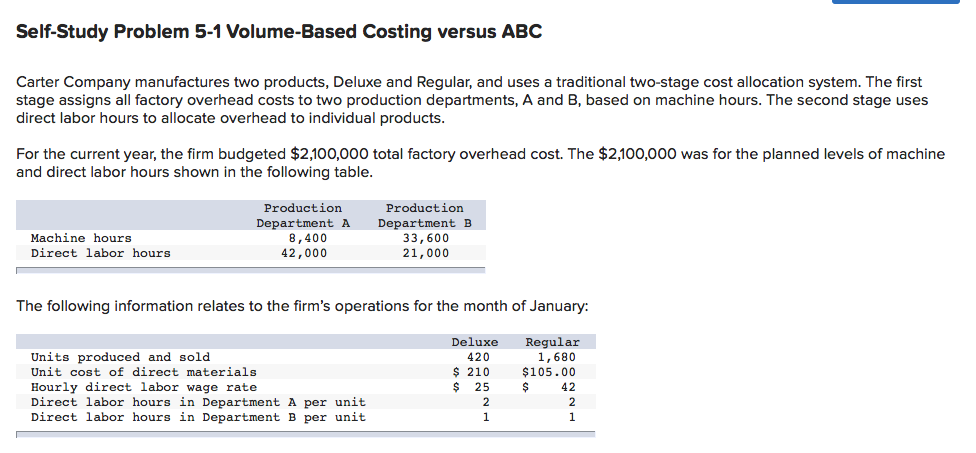 Self-Study Problem 5-1 Volume-Based Costing versus ABC Carter Company manufactures two products, Deluxe and Regular, and uses a traditional two-stage cost allocation system. The first stage assigns all factory overhead costs to two production departments, A and B, based on machine hours. The second stage uses direct labor hours to allocate overhead to individual products For the current year, the firm budgeted $2,100,000 total factory overhead cost. The $2,100,000 was for the planned levels of machine and direct labor hours shown in the following table Production Department A 8,400 42,000 Production Department B 33,600 21,000 Machine hours Direct labor hours The following information relates to the firms operations for the month of January: Units produced and sold Unit cost of direct materials Hourly direct labor wage rate Direct labor hours in Department A per unit Direct labor hours in Department B per unit Deluxe Regular 1,680 $105.00 $ 42 420 210 $ 25