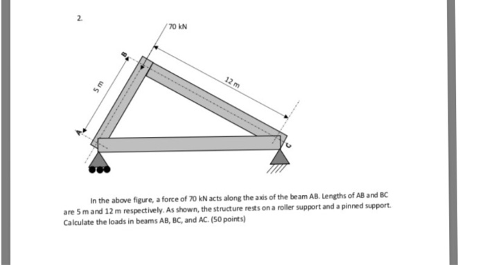 70 KN 2 the axis of the beam AB. Lengths of AB and BC are 5 m and 12 m respectively. As shown, the structure rests on a roller support and a pinned support Calculate the loads in beams AB, BC, and AC. (50 points)