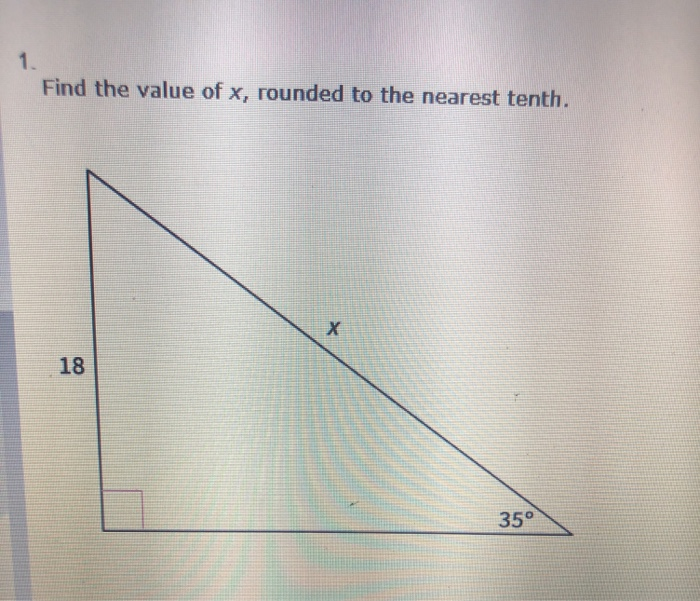 Find the value of x, rounded to the nearest tenth. 18 35°