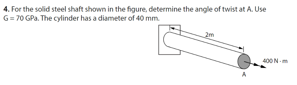 4. For the solid steel shaft shown in the figure, determine the angle of twist at A. Use G-70 GPa. The cylinder has a diamete
