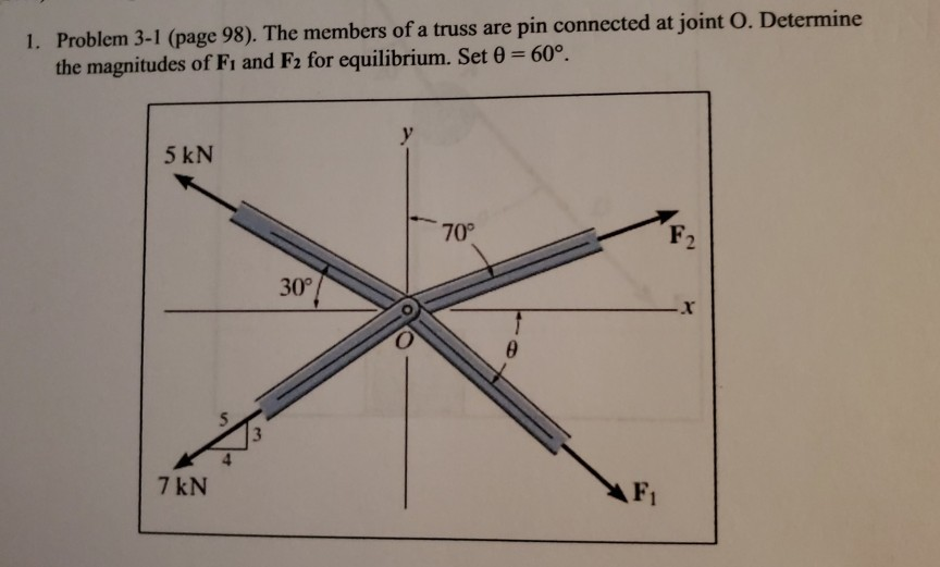 1. Problem 3-1 (page 98). The members of a truss are pin connected at joint o. Determine the magnitudes of Fi and F2 for equi