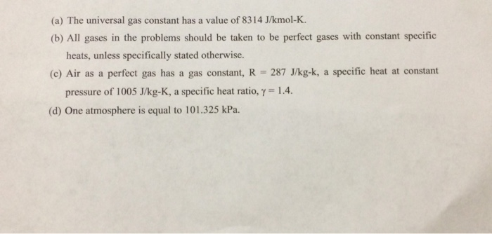 (a) The universal gas constant has a value of 8314 J/kmol-K. (b) All gases in the problems should be taken to be perfect gases with constant specific heats, unless specifically stated otherwise. (c) Air as a perfect gas has a gas constant, R 287 J/kg-k, a specific heat at constant pressure of 1005 J/kg-K, a specific heat ratio, y 1.4. (d) One atmosphere is equal to 101.325 kPa.