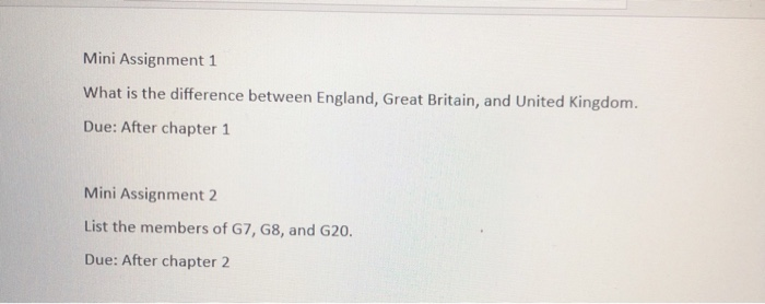 Mini Assignment 1 What is the difference between England, Great Britain, and United Kingdom. Due: After chapter1 Mini Assignment 2 List the members of G7, G8, and G20. Due: After chapter 2