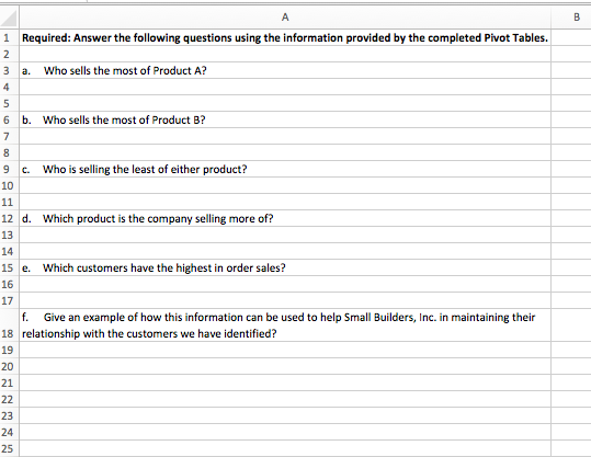 1 Required: Answer the following questions using the information provided by the completed Pivot Tables. 3 a. Who sells the most of Product A? 6 b. Who sells the most of Product B? 9 c. Who is selling the least of either product? 10 12 d. 13 14 15 e. 16 17 Which product is the company selling more of? Which customers have the highest in order sales? f. Give an example of how this information can be used to help Small Builders, Inc. in maintaining their 18 relationship with the customers we have identified? 19 20 21 23 24 25