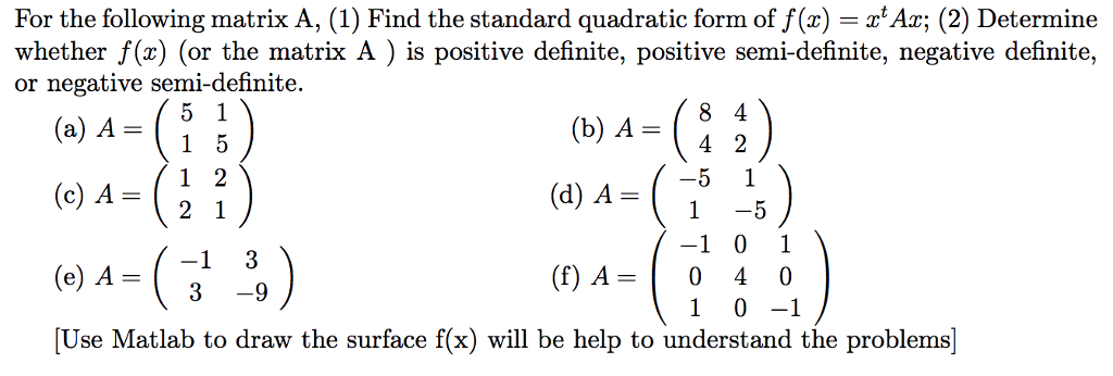 For the following matrix A, (1) Find the standard quadratic form of f(z) -Ax; (2) Determine whether f (x) (or the matrix A ) is positive definite, positive semi-definite, negative definite, or negative semi-definite. (b) A- (c) AsĢï) (d) A (f) A- 0 40 1 0-1 3-9 [Use Matlab to draw the surface f(x) will be help to understand the problems]