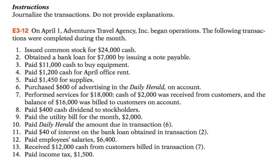 Instructions Journalize the transactions. Do not provide explanations E3-12 On April 1, Adventures Travel Agency, Inc. began